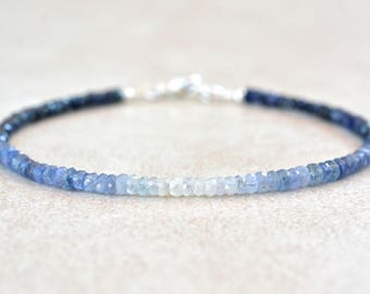 September Birthstone Bracelet, Ombre Sapphire Gemstone Bracelet, Natural Blue Sapphires, Bead Bracelet, Birthstone Bracelet, Gift for Mom