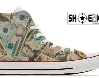 Money dollars custom converse high top shoes