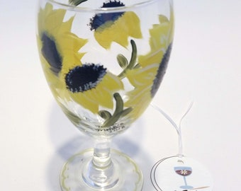 Hand Painted Sunflower Glass Water Goblet