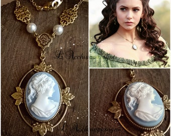 The Vampire Diaries jewelry Katherine Pierce necklace - Resin Cameo - Sun Protection - 1864 cameo - brass setting - leaves
