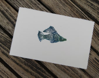 Greeting card of blue fish