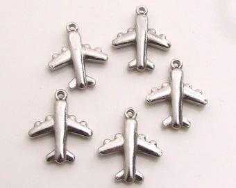 Silver Airplane Charm, Stainless Steel Jewelry Charm, Set of 5 SST Findings 16x19x4mm, Airplane Charm, Aviation Charm