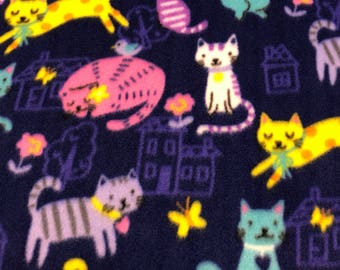 RaToob, Happy Pink Yellow Purple Teal Cats on Royal Purple
