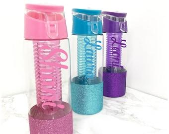 Personalised Water Bottle / Glitter Water Bottle / Fruit Infusion Water Bottle / Drinking Bottle / Water Bottle Tracker / Water Bottle Name
