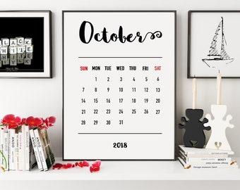 October Calendar, 2018 Calendar Printable, Printable Calendar, 2018 Calendar, 2018 Monthly Calendar, 2018 Wall Calendar, Wall Calendar