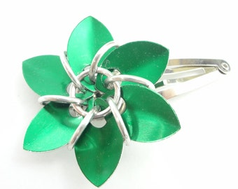 Green Flower Hair Barrette Made From Anodized Aluminum Scalemaille