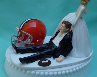 Wedding Cake Topper Cleveland Browns Football Themed w/ Bridal Garter Unique Funny Bride and Groom Sports Fan Fun Humorous Original Top
