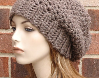 Womens Slouchy Hat - Slouchy Beret Hat - Taupe Slouchy Beanie Hat - Winter Accessories - Beige Slouchy Beret  // THE ROWAN //