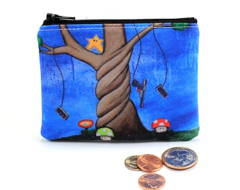 The Tree of Extra Life - Small Zipper Pouch - Nintendo Tree with Mushrooms, Duck Hunt Controller, Invincibility Star - Art by Marcia Furman