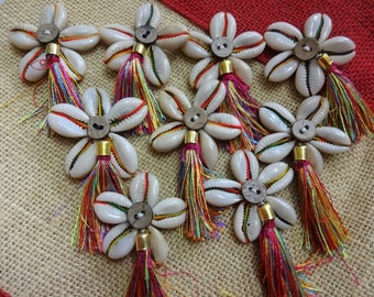 Cowry Shell Motifs, Cowry Shell Rosettes , Cowrie Appliques, Flower Appliques, Silk Tassels - 6 Cowrie Shell Flowers with Silk Tassel