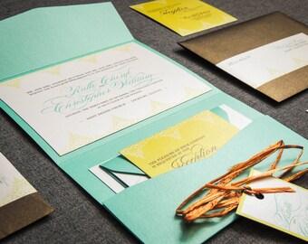 """Destination Pocket Fold Wedding Invitation, Beach Wedding Invites, Printed Wedding Invitation - """"Delicate Filigree"""" PF-NL-v3 SAMPLE"""
