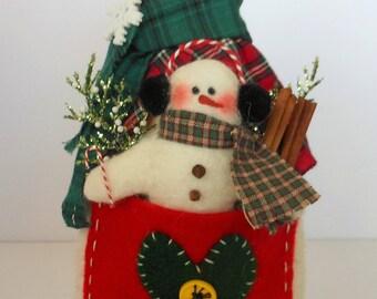 Snow Mama Doll, Snowman Doll, Winter Decor, Christmas Decor, Holiday Decor, Art Doll