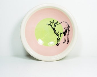 small dish, with a billy goat shown here on a color block of bubblegum & tinda, made to order.