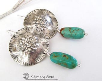 Turquoise Sterling Silver Earrings, Kingman Turquoise Earrings, Big Bold Silver Earrings, Genuine Turquoise Jewelry, Silversmith Earrings