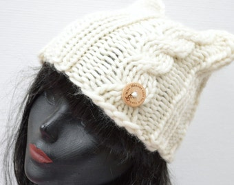 Hand Knit Warm Wool Cable Cat Beanie  - Off White - Winter Fashion Accessory