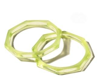 """Lot (2) 2"""" antique Czech octagon Uranium Art glass bangles hoops earring elements"""