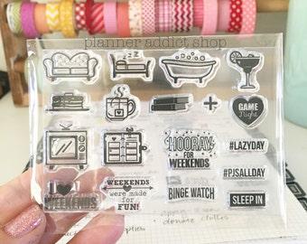 Weekends 3X4 Photopolymer stamp set/Planner Accessories: Erin Condren, Filofax, planners