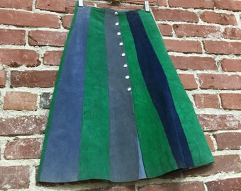 "Rare Suede Striped Mod Seventies 1970s Snap Skirt 24"" to 25"" waist"