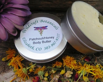 4oz Tin of Happy Hippie/Patchouli Honey Fragrance Luscious Body Butter
