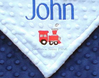 Personalized Baby Boy Blanket, Boys Minky Baby Blanket, Baby Boy Train Blanket, New Baby Gift, Custom Embroidery Available, 28x30
