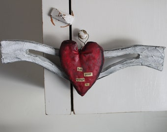 Mixed Media Heart & Wings*Let Your Wings Fly*Tiffany Grace Walls Art*