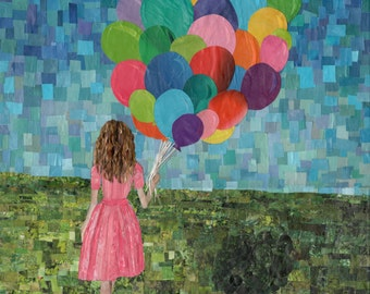 girl with balloons (8x10 print)