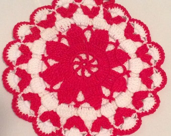 Red and White Potholder, Vintage Red and White Hot Pad, Retro Red and White Kitchen, Retro Kitchen Decor