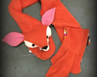 Fox Animal Scarf, Short or X-Long Fox Stuffed Animal for kids and adults MADE TO ORDER