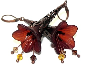 Lucite Trumpet Flower Earrings - Chocolate brown lilies - Dark Copper Filigree Cone - Yellow, Champagne and Brown Swarovski crystals