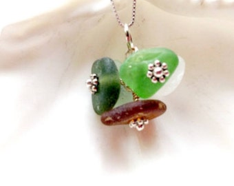 Sea Glass Necklace, Sea Glass Jewelry, Cluster Necklace, Lake Jewelry, Lake Glass, Mermaid Necklace, Seaglass, Seaglass Gift, Gift For Mom
