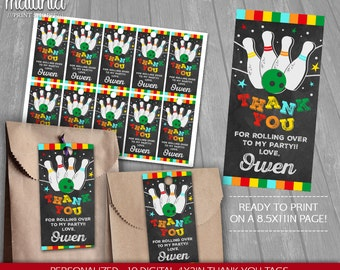 Bowling Thank You Tags Printable - PERSONALIZED - Bowling Birthday Party tags - Bowling Birthday Labels - Strike (BWTG01)