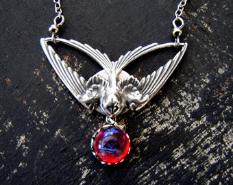 Dragon's Breath Opal Necklace Wiccan Necklace Sterling Silver Necklace Gothic Jewelry Statement Necklace Fire Opal Necklace Wicca