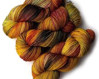 Hand Dyed Yarn Merino Nylon Sock Yarn, 433 yards, Oak Leaves