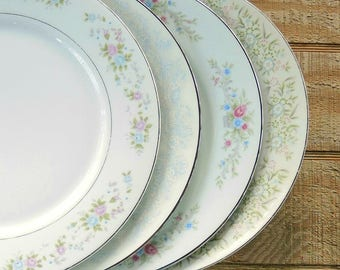 Mismatched Vintage Dinner Plates Set of 4 Plates for Wedding, Platinum Band Replacement China