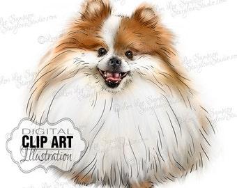 Pomeranian Dog Clip Art | Color Illustration | Dog Clipart Digital Download | Animal Art | Digital Scrapbooking | Scrapbook Supplies