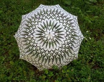 Wedding Lace Parasol, Umbrella Sunshade, Crochet Umbrella, Victorian Parasol, Wedding Photo Props, Bridal Umbrella, Photo Session Umbrella