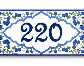 Blueberries custom address sign, House number plaque, Custom name sign, Custom address plaque