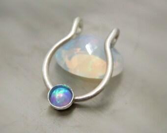 Fake Septum Ring, Clip On Septum Ring, Fake Opal Septum Ring, Non Pierced Septum Nose Ring