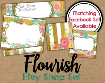 Gold Floral Etsy Banner Set - Spring Floral Etsy Shop Banner - Flower Banner - Golden Etsy Shop Banner - Watercolor Flower Etsy Shop Icon