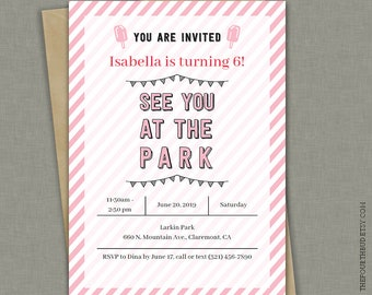 5x7 park birthday party invitation park party printable