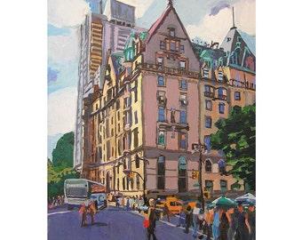The Dakota. New York Art Central Park West NYC Painting Cityscape 8x10 Art Print  John Lennon home. Painting by Gwen Meyerson