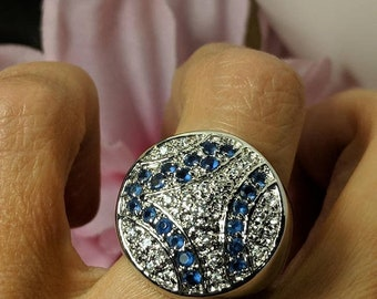 SALE TODAY Large Art Deco Styled Vintage Silver Sapphire Blue Faux Diamond Pave Cocktail Statement Ring Size 7