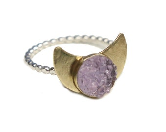 Size 7 Brass Moon Ring with a Sterling Silver Band and a Faux Druzy Gemstone. FREE US Standard Shipping.