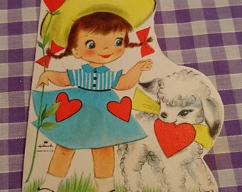 Vintage Hallmark Valentines card / greetings card c 1940s / 1950s girl with lamb unused - send / collectable / papercrafts / cardmaking