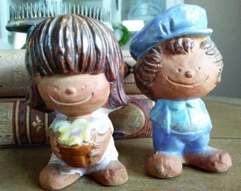 Salt and Pepper Shakers Retro Boy and Girl Pottery Made in Japan