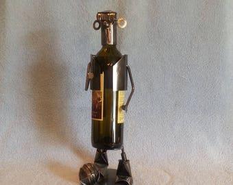 Metal Art Wine Bottle Holder - Soccer Theme