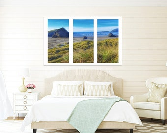 Large-Format Triptych Print - Bandon Oregon beach on a clear blue-sky day, dune grass, rock formations, Oregon coast photography