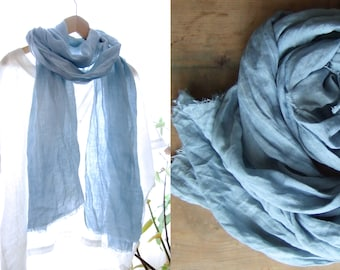 Indigo dyed linen scarf, organic indigo hand dyed wrap, fine soft washed linen stole from France, organic gift for men, women, mom or dad