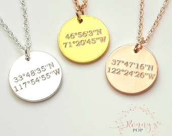Custom Jewelry - Coordinate GPS - Disc - Coin - Engraved Jewelry - Initial Necklace - Name - Personalized Gift - Letter - Sister Gift - D15