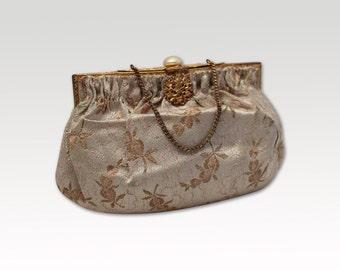 Vintage Creme Purse, Bridal Bag, Evening Bag, Clutch, Formal